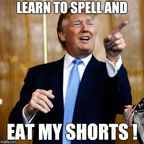 LEARN TO SPELL AND | image tagged in trump replys | made w/ Imgflip meme maker