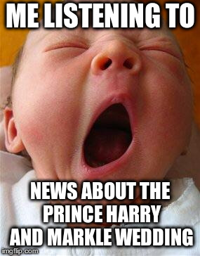 No, it's interesting, really, it is! | ME LISTENING TO NEWS ABOUT THE PRINCE HARRY AND MARKLE WEDDING | image tagged in yawn,prince harry,meghan markle,royal wedding | made w/ Imgflip meme maker