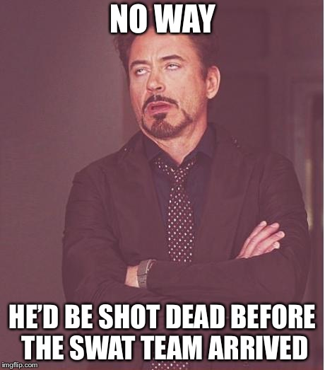 Face You Make Robert Downey Jr Meme | NO WAY HE'D BE SHOT DEAD BEFORE THE SWAT TEAM ARRIVED | image tagged in memes,face you make robert downey jr | made w/ Imgflip meme maker