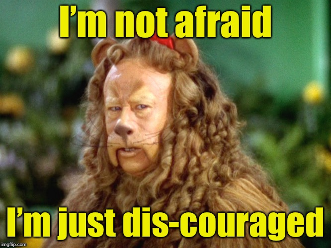 Cowardly Pun | I'm not afraid I'm just dis-couraged | image tagged in wizard of oz lion,memes,afraid,bad pun | made w/ Imgflip meme maker