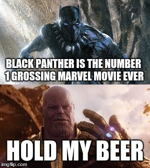 hold my beer | BLACK PANTHER IS THE NUMBER 1 GROSSING MARVEL MOVIE EVER HOLD MY BEER | image tagged in avengers,infinity war,black panther | made w/ Imgflip meme maker