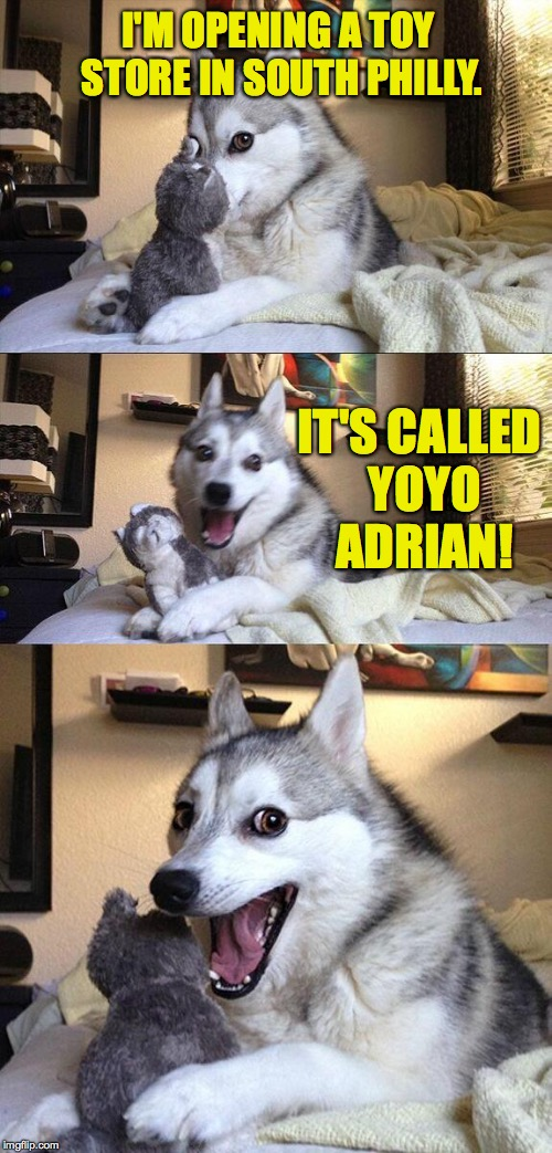 Well it's not 'Good Pun Dog', is it?! | I'M OPENING A TOY STORE IN SOUTH PHILLY. IT'S CALLED YOYO ADRIAN! | image tagged in memes,bad pun dog,yo adrian | made w/ Imgflip meme maker