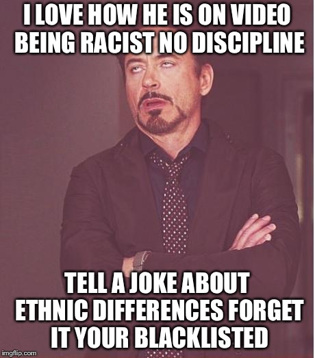 Face You Make Robert Downey Jr Meme | I LOVE HOW HE IS ON VIDEO BEING RACIST NO DISCIPLINE TELL A JOKE ABOUT ETHNIC DIFFERENCES FORGET IT YOUR BLACKLISTED | image tagged in memes,face you make robert downey jr | made w/ Imgflip meme maker