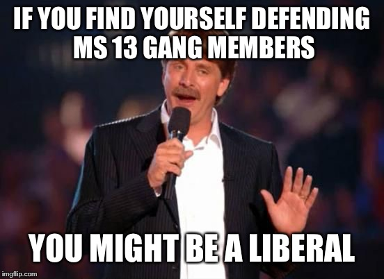 You Might Be a Liberal | IF YOU FIND YOURSELF DEFENDING MS 13 GANG MEMBERS YOU MIGHT BE A LIBERAL | image tagged in jeff foxworthy,liberals,liberal logic | made w/ Imgflip meme maker