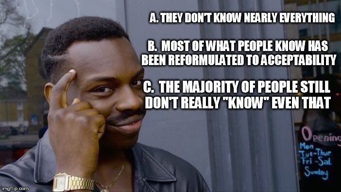 "Roll Safe Think About It Meme | A. THEY DON'T KNOW NEARLY EVERYTHING C.  THE MAJORITY OF PEOPLE STILL DON'T REALLY ""KNOW"" EVEN THAT B.  MOST OF WHAT PEOPLE KNOW HAS BEEN RE 