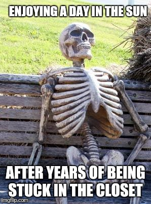 No More Family Secrets  | ENJOYING A DAY IN THE SUN AFTER YEARS OF BEING STUCK IN THE CLOSET | image tagged in memes,waiting skeleton,funny | made w/ Imgflip meme maker
