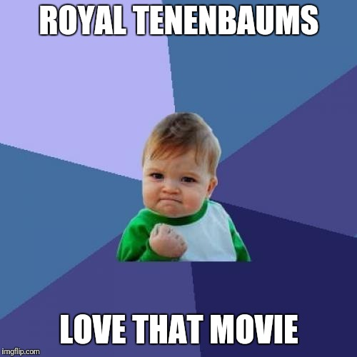 Success Kid Meme | ROYAL TENENBAUMS LOVE THAT MOVIE | image tagged in memes,success kid | made w/ Imgflip meme maker