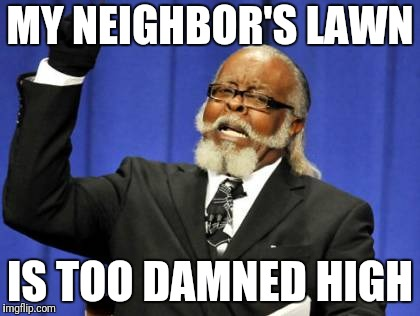 Too Damn High Meme | MY NEIGHBOR'S LAWN IS TOO DAMNED HIGH | image tagged in memes,too damn high,funny | made w/ Imgflip meme maker
