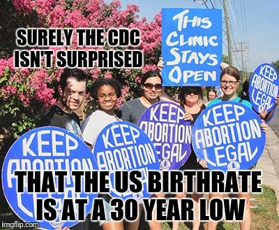 SURELY THE CDC ISN'T SURPRISED THAT THE US BIRTHRATE IS AT A 30 YEAR LOW | image tagged in liberal vs conservative,memes,breaking news | made w/ Imgflip meme maker