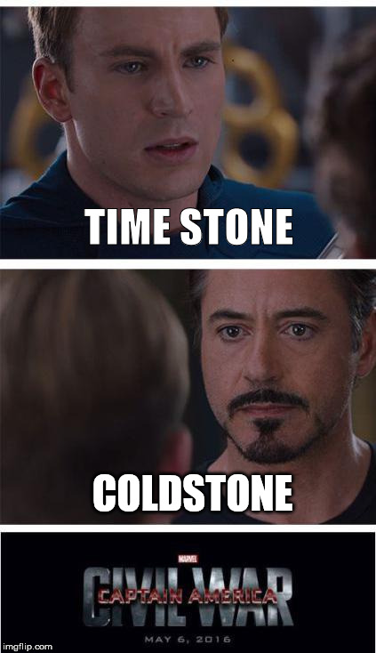 Marvel Civil War 1 Meme | TIME STONE COLDSTONE | image tagged in memes,marvel civil war 1 | made w/ Imgflip meme maker