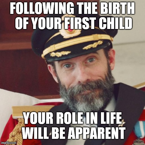 Captain Obvious | FOLLOWING THE BIRTH OF YOUR FIRST CHILD YOUR ROLE IN LIFE WILL BE APPARENT | image tagged in captain obvious,life | made w/ Imgflip meme maker