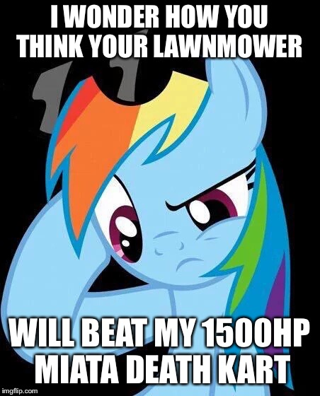 Confused Rainbow Dash | I WONDER HOW YOU THINK YOUR LAWNMOWER WILL BEAT MY 1500HP MIATA DEATH KART | image tagged in confused rainbow dash | made w/ Imgflip meme maker