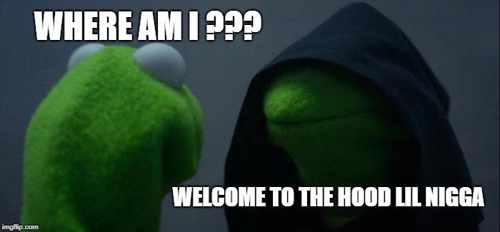 Evil Kermit Meme | WHERE AM I ??? WELCOME TO THE HOOD LIL N**GA | image tagged in memes,evil kermit | made w/ Imgflip meme maker