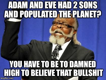 Too Damn High Meme | ADAM AND EVE HAD 2 SONS AND POPULATED THE PLANET? YOU HAVE TO BE TO DAMNED HIGH TO BELIEVE THAT BULLSHIT | image tagged in memes,too damn high | made w/ Imgflip meme maker