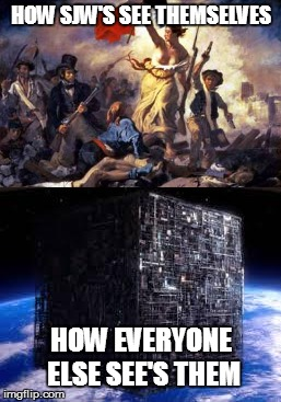 HOW SJW'S SEE THEMSELVES; HOW EVERYONE ELSE SEE'S THEM | image tagged in sjws,the borg | made w/ Imgflip meme maker