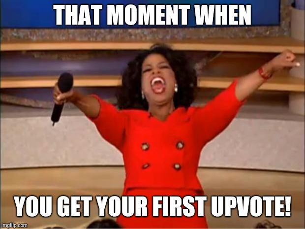 Feeling loved  | THAT MOMENT WHEN YOU GET YOUR FIRST UPVOTE! | image tagged in memes,oprah you get a | made w/ Imgflip meme maker