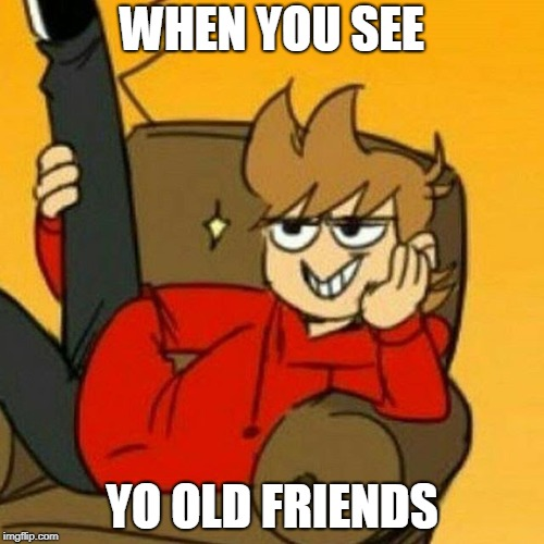 When you see you friends | WHEN YOU SEE YO OLD FRIENDS | image tagged in eddsworld | made w/ Imgflip meme maker