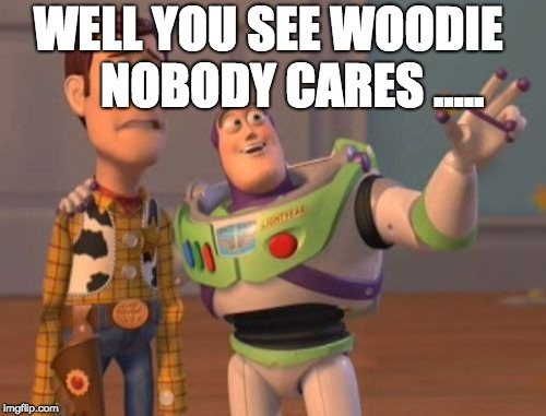 X, X Everywhere | WELL YOU SEE WOODIE     NOBODY CARES ..... | image tagged in memes,x,x everywhere,x x everywhere | made w/ Imgflip meme maker