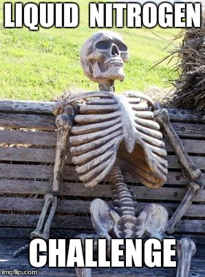 Waiting Skeleton Meme | LIQUID  NITROGEN CHALLENGE | image tagged in memes,waiting skeleton | made w/ Imgflip meme maker