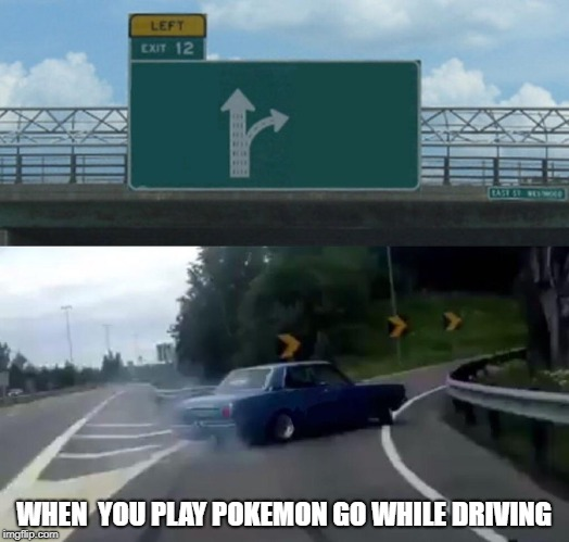 Left Exit 12 Off Ramp Meme | WHEN  YOU PLAY POKEMON GO WHILE DRIVING | image tagged in memes,left exit 12 off ramp | made w/ Imgflip meme maker