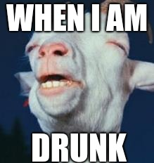 goat | WHEN I AM DRUNK | image tagged in goat | made w/ Imgflip meme maker