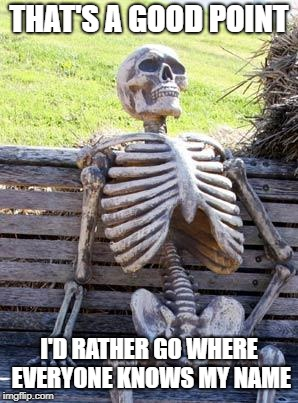 Waiting Skeleton Meme | THAT'S A GOOD POINT I'D RATHER GO WHERE EVERYONE KNOWS MY NAME | image tagged in memes,waiting skeleton | made w/ Imgflip meme maker