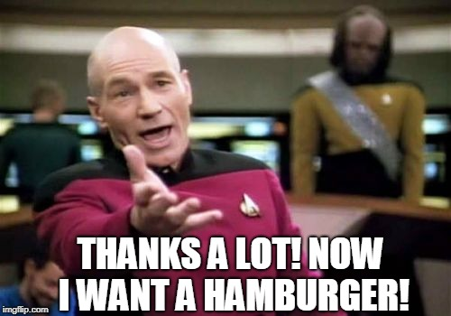 Picard Wtf Meme | THANKS A LOT! NOW I WANT A HAMBURGER! | image tagged in memes,picard wtf | made w/ Imgflip meme maker
