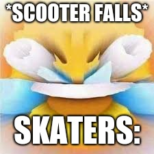 Laughing crying emoji with open eyes  |  *SCOOTER FALLS*; SKATERS: | image tagged in laughing crying emoji with open eyes | made w/ Imgflip meme maker