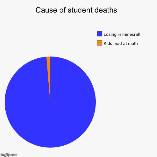 Cause of student deaths  | Kids mad at math, Losing in minecraft | image tagged in funny,pie charts | made w/ Imgflip pie chart maker