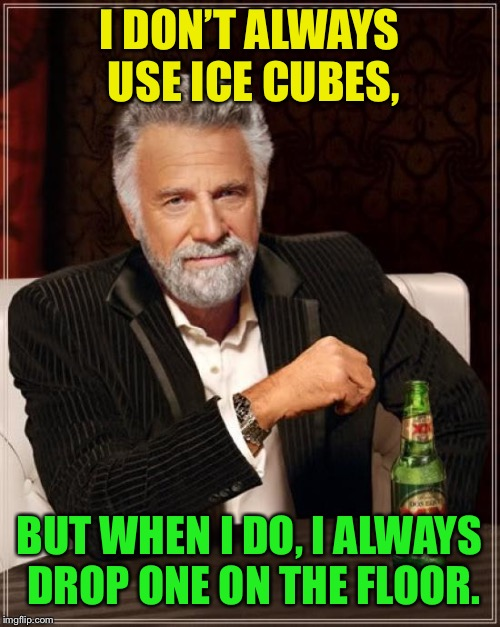The Most Interesting Man In The World | I DON'T ALWAYS USE ICE CUBES, BUT WHEN I DO, I ALWAYS DROP ONE ON THE FLOOR. | image tagged in memes,the most interesting man in the world,ice cubes | made w/ Imgflip meme maker