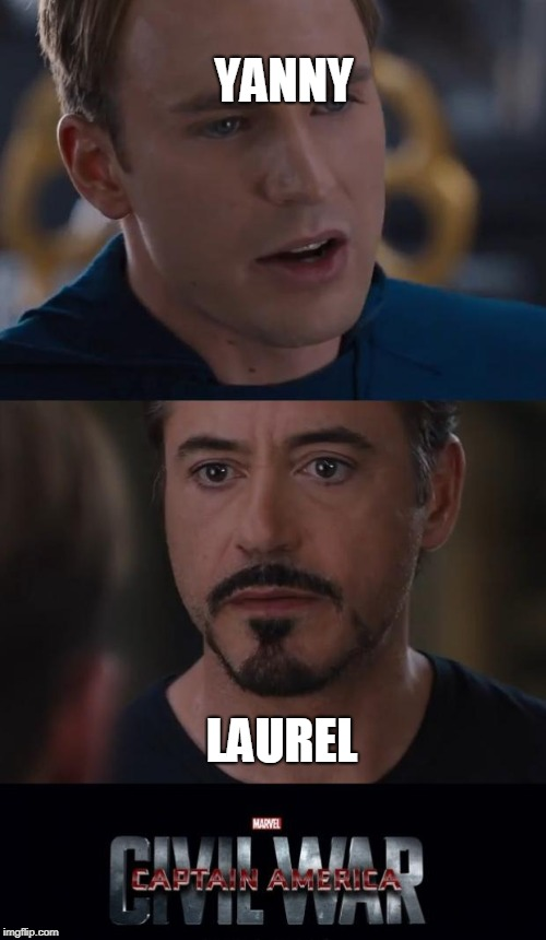 Debate Topics | YANNY LAUREL | image tagged in memes,marvel civil war,yanny,laurel,debate,trends | made w/ Imgflip meme maker