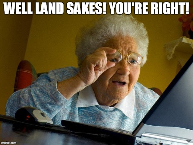 Grandma Finds The Internet Meme | WELL LAND SAKES! YOU'RE RIGHT! | image tagged in memes,grandma finds the internet | made w/ Imgflip meme maker