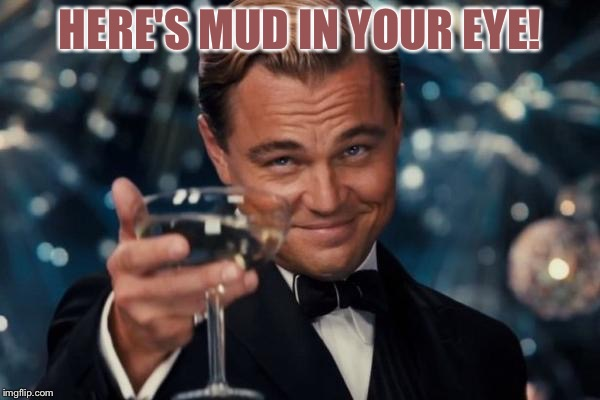 Leonardo Dicaprio Cheers Meme | HERE'S MUD IN YOUR EYE! | image tagged in memes,leonardo dicaprio cheers | made w/ Imgflip meme maker