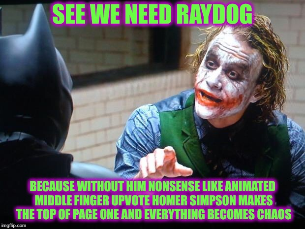 The Joker  | SEE WE NEED RAYDOG BECAUSE WITHOUT HIM NONSENSE LIKE ANIMATED MIDDLE FINGER UPVOTE HOMER SIMPSON MAKES THE TOP OF PAGE ONE AND EVERYTHING BE | image tagged in the joker,raydog | made w/ Imgflip meme maker