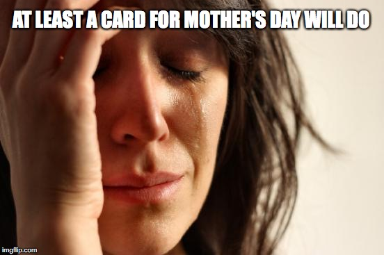 First World Problems Meme | AT LEAST A CARD FOR MOTHER'S DAY WILL DO | image tagged in memes,first world problems | made w/ Imgflip meme maker