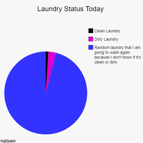 Laundry Status Today | Random laundry that I am going to wash again because I don't know if it's clean or dirty, Dirty Laundry, Clean Laundr | image tagged in funny,pie charts | made w/ Imgflip chart maker