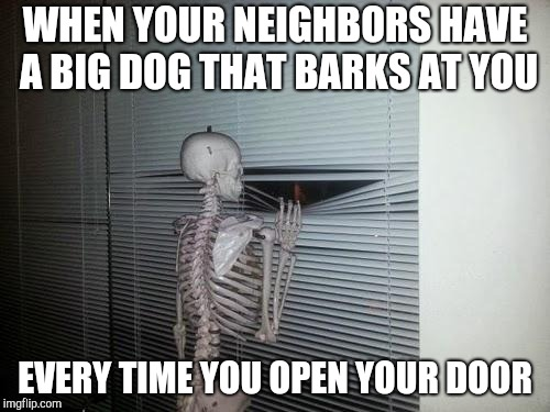 Social anxiety skeleton | WHEN YOUR NEIGHBORS HAVE A BIG DOG THAT BARKS AT YOU EVERY TIME YOU OPEN YOUR DOOR | image tagged in waiting skeleton | made w/ Imgflip meme maker