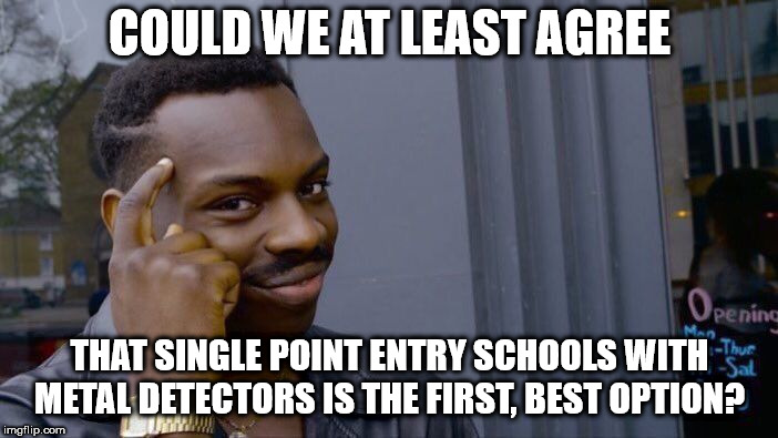 Roll Safe Think About It Meme | COULD WE AT LEAST AGREE THAT SINGLE POINT ENTRY SCHOOLS WITH METAL DETECTORS IS THE FIRST, BEST OPTION? | image tagged in memes,roll safe think about it | made w/ Imgflip meme maker