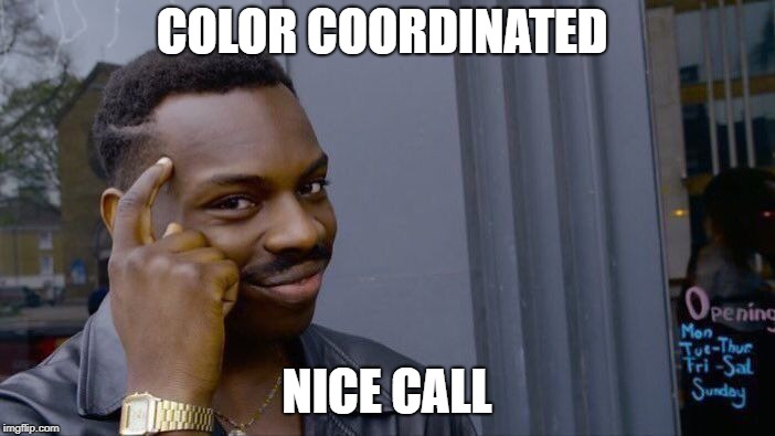 Roll Safe Think About It Meme | COLOR COORDINATED NICE CALL | image tagged in memes,roll safe think about it | made w/ Imgflip meme maker