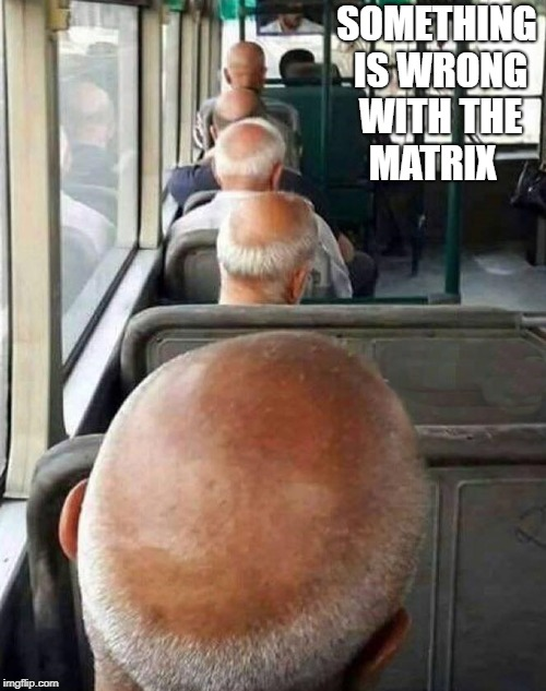 something is wrong with the matrix  | SOMETHING IS WRONG WITH THE MATRIX | image tagged in matrix,funny,meme,bald | made w/ Imgflip meme maker