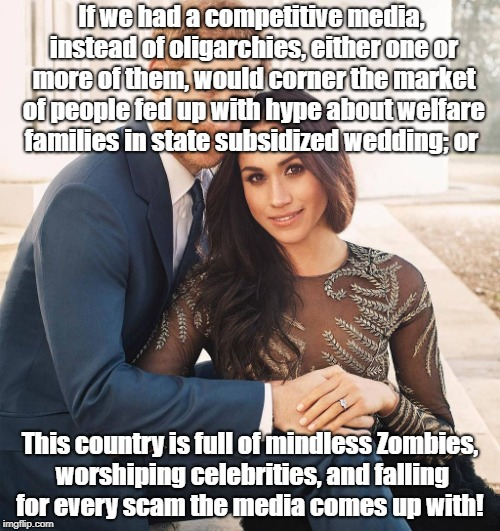 If we had a competitive media, instead of oligarchies, either one or more of them, would corner the market of people fed up with hype about  | image tagged in royal wedding | made w/ Imgflip meme maker