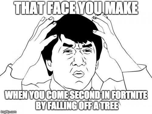 Jackie Chan WTF Meme | THAT FACE YOU MAKE WHEN YOU COME SECOND IN FORTNITE BY FALLING OFF A TREE | image tagged in memes,jackie chan wtf | made w/ Imgflip meme maker