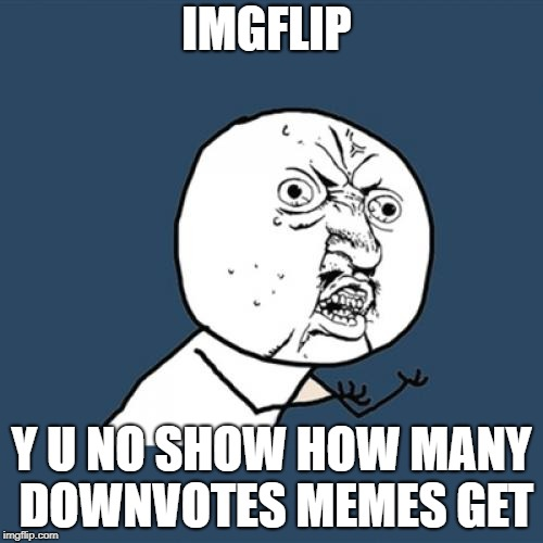 Y U No | IMGFLIP Y U NO SHOW HOW MANY DOWNVOTES MEMES GET | image tagged in memes,y u no | made w/ Imgflip meme maker