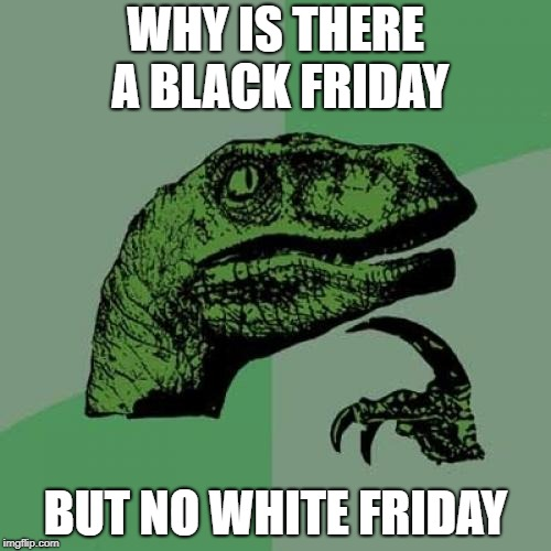 Philosoraptor | WHY IS THERE A BLACK FRIDAY BUT NO WHITE FRIDAY | image tagged in memes,philosoraptor,doctordoomsday180,black friday,white friday,meme | made w/ Imgflip meme maker