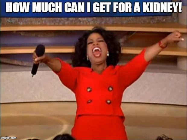 Oprah You Get A Meme | HOW MUCH CAN I GET FOR A KIDNEY! | image tagged in memes,oprah you get a | made w/ Imgflip meme maker