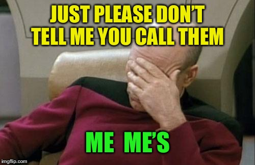Captain Picard Facepalm Meme | JUST PLEASE DON'T TELL ME YOU CALL THEM ME  ME'S | image tagged in memes,captain picard facepalm | made w/ Imgflip meme maker