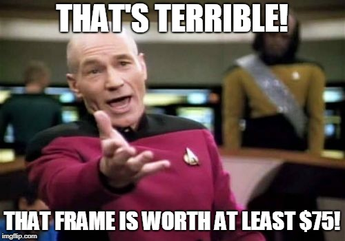 Picard Wtf Meme | THAT'S TERRIBLE! THAT FRAME IS WORTH AT LEAST $75! | image tagged in memes,picard wtf | made w/ Imgflip meme maker