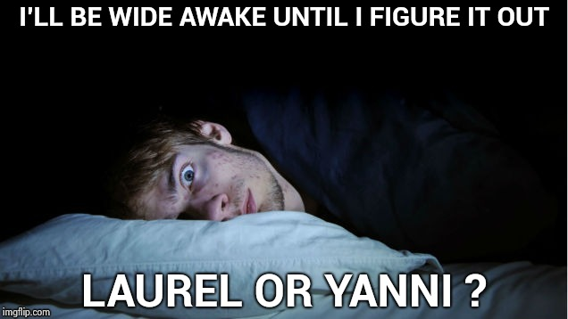 I only heard gibberish | I'LL BE WIDE AWAKE UNTIL I FIGURE IT OUT LAUREL OR YANNI ? | image tagged in night terror,laurel,yahuah,see no one cares,language | made w/ Imgflip meme maker