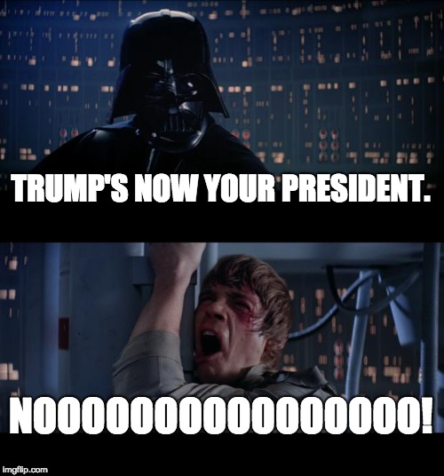 Democrats When Trump Becomes President | TRUMP'S NOW YOUR PRESIDENT. NOOOOOOOOOOOOOOOO! | image tagged in memes,star wars no,donald trump,democrats | made w/ Imgflip meme maker