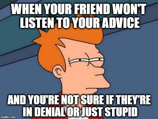 Are You Stupid Or In Denial? | WHEN YOUR FRIEND WON'T LISTEN TO YOUR ADVICE AND YOU'RE NOT SURE IF THEY'RE IN DENIAL OR JUST STUPID | image tagged in memes,futurama fry,denial,stupid people,friends,funny memes | made w/ Imgflip meme maker